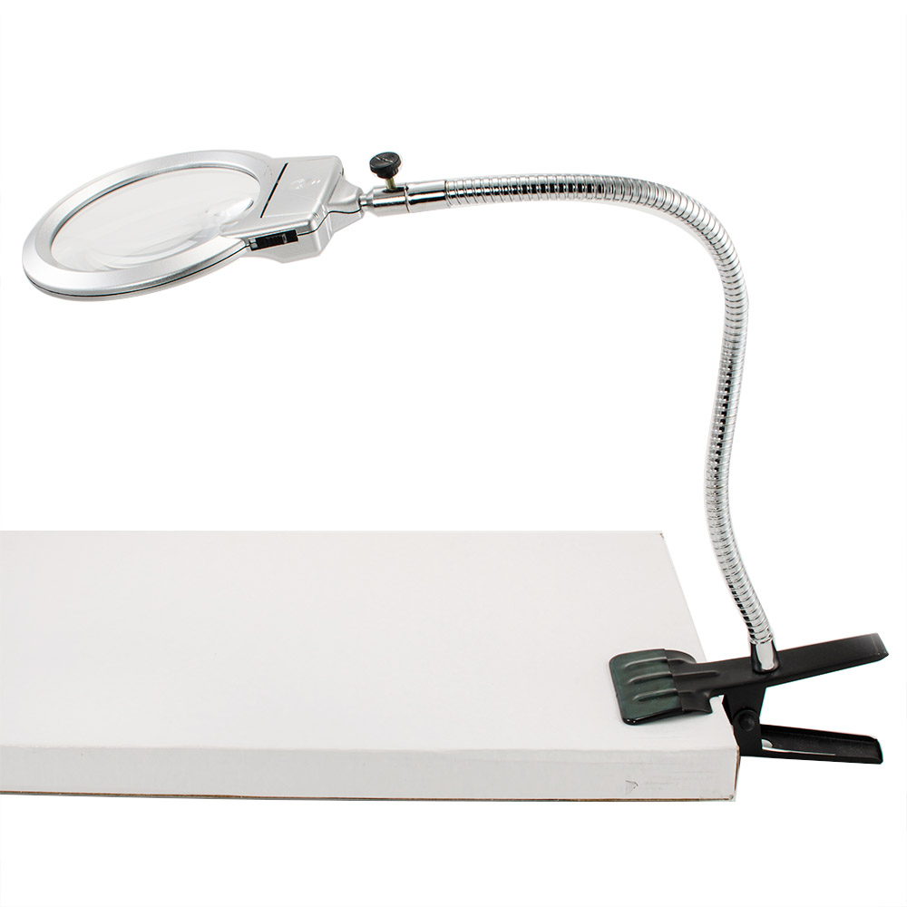 magnifying glass clamp on table desk lamp led light magnifier jewelry. Black Bedroom Furniture Sets. Home Design Ideas