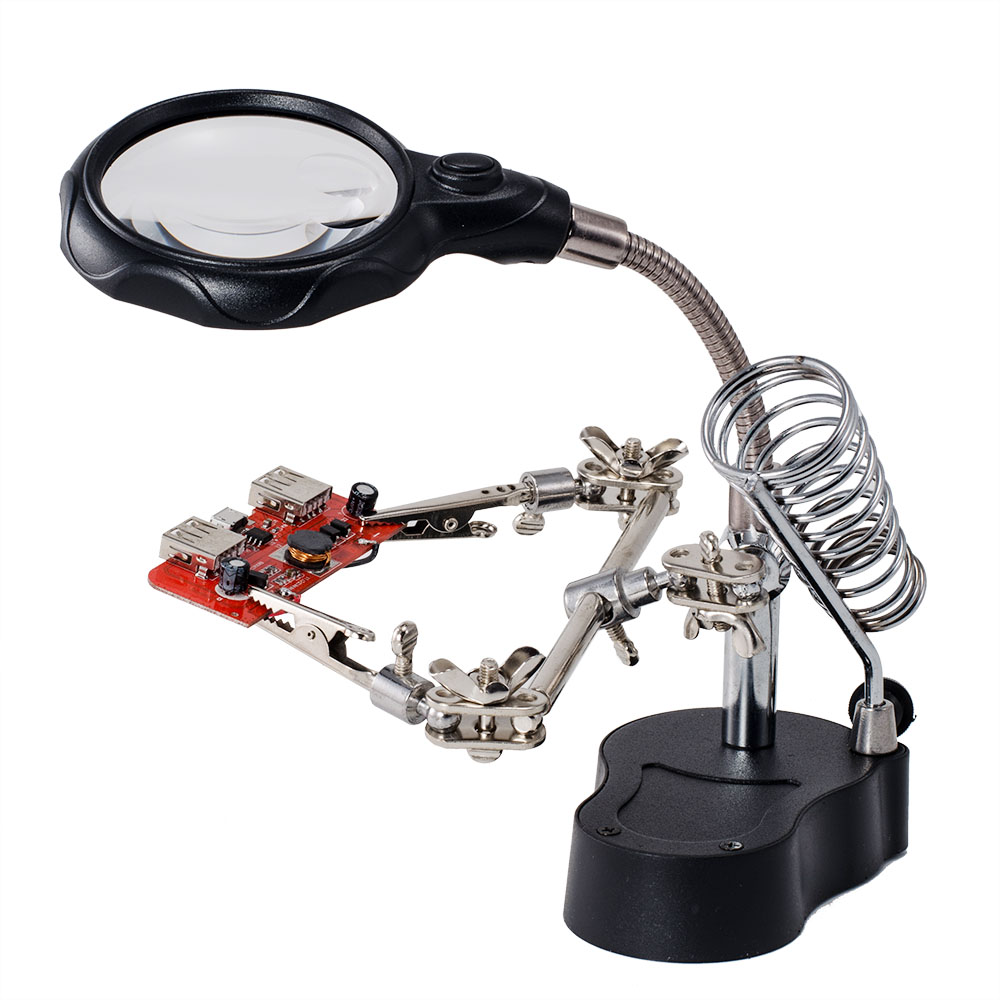 soldering stand with led light glas clip magnifier magnifying glass. Black Bedroom Furniture Sets. Home Design Ideas